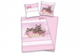 Funky Monkey Wendebettwäsche »Katzen«, rosa, 1x 135x200 cm