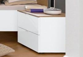 LC LC Nachttisch, weiß, weiß Hochglanz mit Eichefb.natur-Dekor