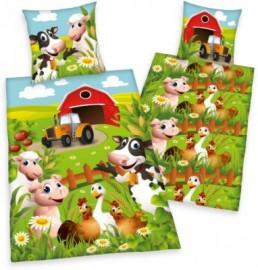 Funky Monkey Kinderbettwäsche »Bauernhof«, grün, 1x 80x80 cm
