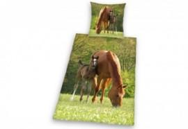 Funky Monkey Kinderbettwäsche »Pferd mit Fohlen«, grün, 1x 80x80 cm