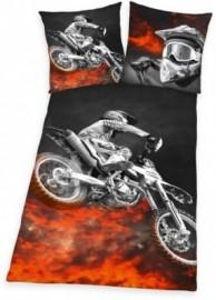 Funky Monkey Jugendbettwäsche »Motorcross«, schwarz, 1x 80x80 cm
